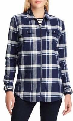 Chaps Plaid Cotton Twill Full-Zip Long-Sleeve Shirt