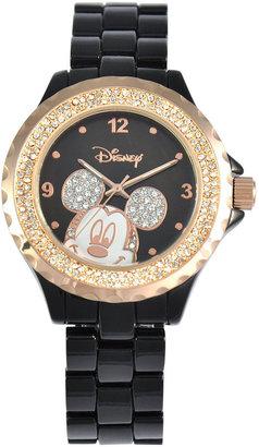 DISNEY Disney Black Enamel Crystal Accent Mickey Watch $42 thestylecure.com
