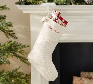 Pottery Barn Faux Sheepskin Stocking with Bells