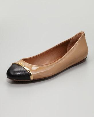 Tory Burch Pacey Cap-Toe Ballerina Flat