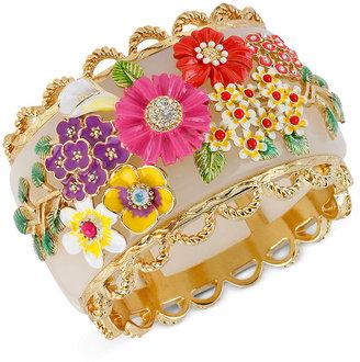 Betsey Johnson Bracelet, Multi Flower Hinged Bangle Bracelet