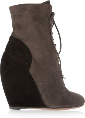 Alaia Two-tone suede wedge ankle boots
