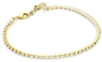Ettika Gold Colored Small Rhinestone White Tennis Anklet