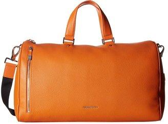 BUGATCHI Pebble Leather Full Grain Leather Weekender Duffel Bag