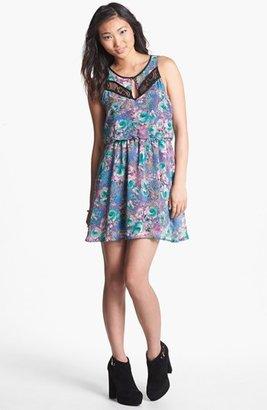 Lush Lace Inset Print Skater Dress (Juniors)