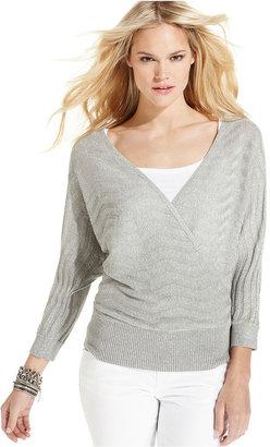 INC International Concepts Sweater, Dolman-Sleeve Metallic-Knit