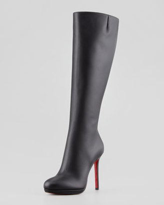 Christian Louboutin Botalili Leather Red-Sole Knee Boot, Black