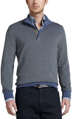 Ermenegildo Zegna Contrast Quarter-Zip Waffle Sweater, Blue/Sage
