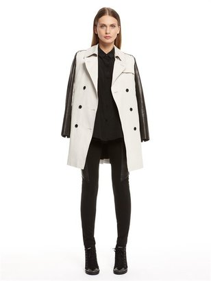 DKNY Trench Coat With Leather Sleeves