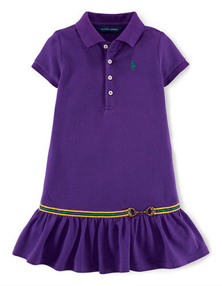Ralph Lauren Girls 2-6x Ruffled Polo Dress