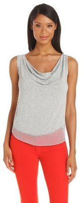 Only Hearts Club Women's Feather Weight Silk Chiffon Cowl Neck Tank
