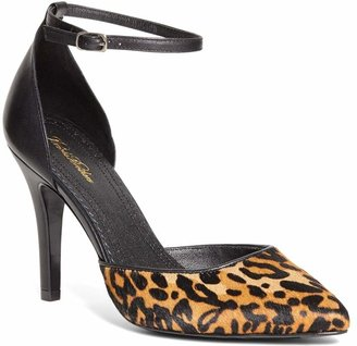 Brooks Brothers Haircalf Leopard Pumps with Ankle Strap