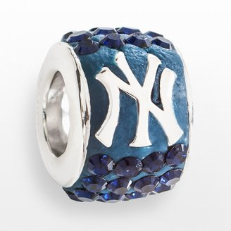 New York Yankees LogoArt Sterling Silver Crystal Logo Bead - Made with Swarovski Crystals