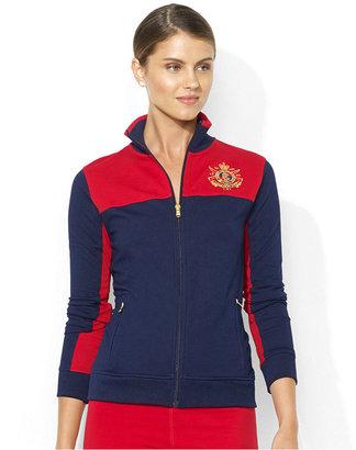 Lauren Ralph Lauren Jacket, Long-Sleeve Colorblocked Logo Mock-Neck