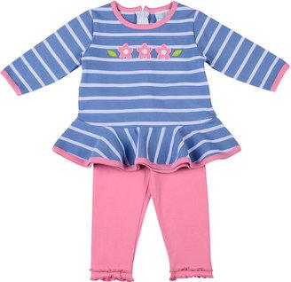 Florence Eiseman Pink On Blue Tunic & Legging Set, 12-24 Months