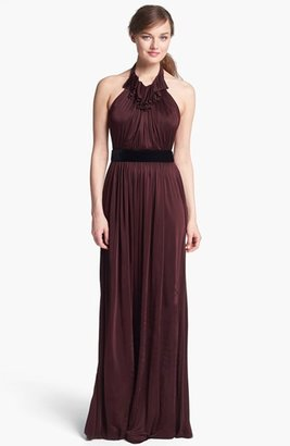 Jill Stuart Jill Ruffled Jersey Halter Dress