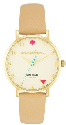 Women's Kate Spade New York 'Metro - Somewhere' Leather Strap Watch, 35Mm $195 thestylecure.com