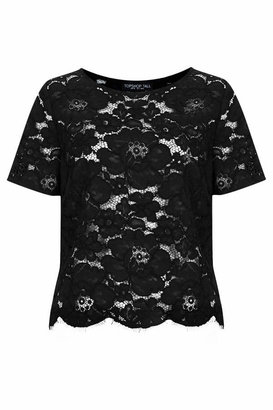 Topshop Tall black all-over lace tee. 55% cotton, 25% viscose, 20% nylon. machine washable.