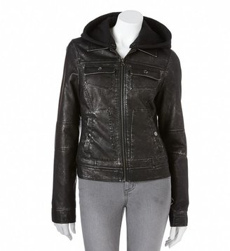 Sebby hooded faux-leather jacket