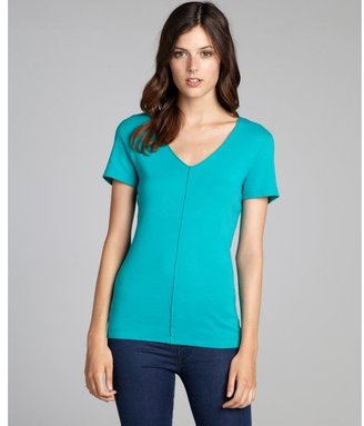 Three Dots turquoise cotton exposed seam v-neck t-shirt
