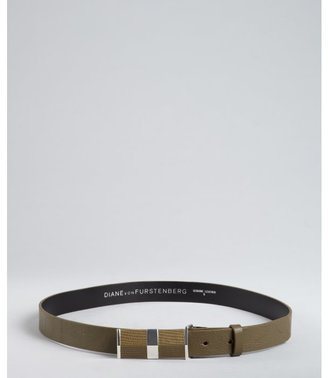 Diane von Furstenberg camouflage leather 'Tava' snake embossed buckle belt