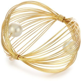 """Susan Hanover Designs """"Modern Metals"""" Wired Cuff Bracelet with Mauve Pearls"""