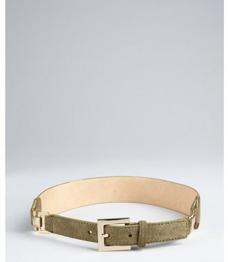 Vince Camuto olive suede and stud hinged belt