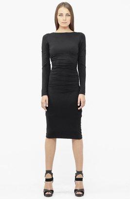 Nicole Miller Ruched Ponte Knit Midi Sheath Dress