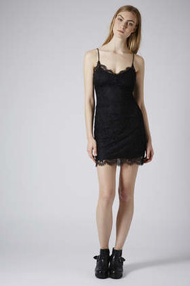 Topshop Petite black lace bodycon dress