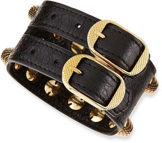 Balenciaga Giant 12 Yellow Golden Leather Triple Row Bracelet, Black