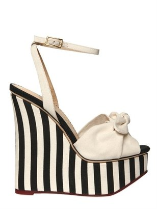 Charlotte Olympia 160mm Striped Cotton Linen Wedges