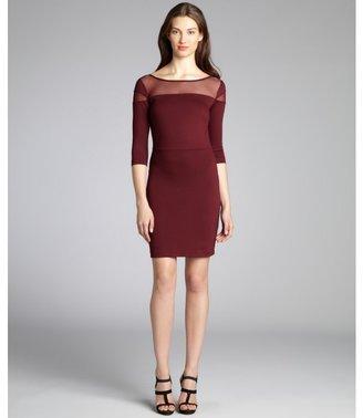BB Dakota wine ponte 'Jada' mesh panel half-sleeve bodycon dress