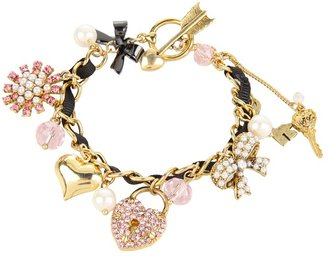 Betsey Johnson Fabulous Fuchsia Heart Locket Charm Bracelet (Fuchsia) - Jewelry