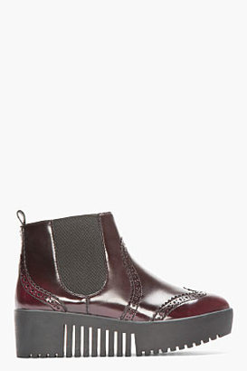 Opening Ceremony Burgundy Buffed Leather Wingtip Brogue Spectator Boots
