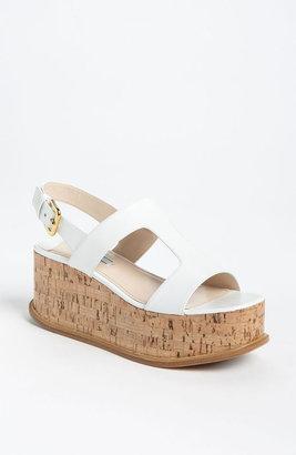 Prada T-Strap Platform Wedge Sandal