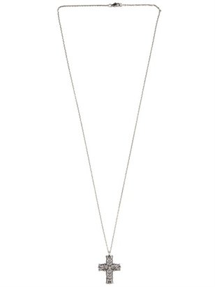 Emanuele Bicocchi Perforated Cross Silver Necklace
