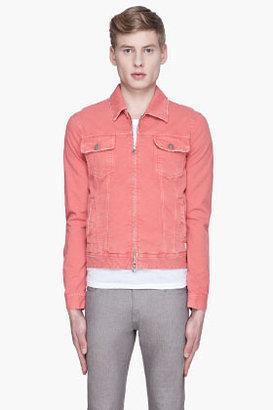 Balmain PIERRE Coral pink worn Denim Jacket