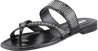 Manolo Blahnik Susabor Toe-Ring Studded Flat Sandal, Black