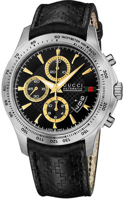 Gucci Watch, Men's Swiss Chronograph G-Timeless Black Diamante Leather Strap 44mm YA126237