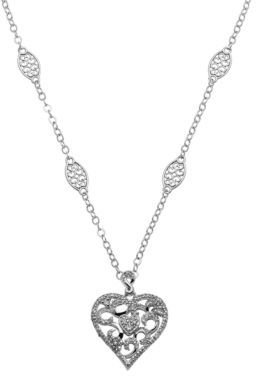 Lord & Taylor Sterling Silver and Diamond Heart Pendant Necklace