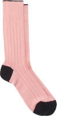 Barneys New York Contrast HeelToe Mid-Calf Socks