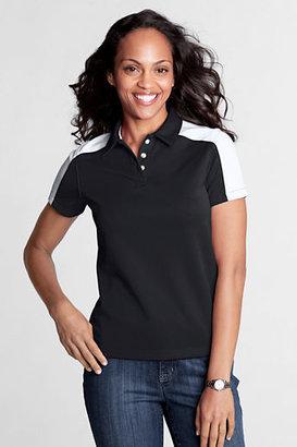 Lands' End Women's Regular Short Sleeve Colorblock Pique Polo Shirt