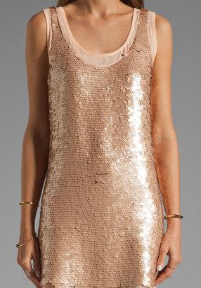 Lauren Conrad Paper Crown by Montauk Sequin Dress in Champagne/Nude