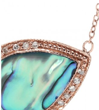 Jacquie Aiche 14KT ROSE GOLD PARTIAL WHITE DIAMOND SMALL TEARDROP ABALONE SHELL BEZEL NECKLACE