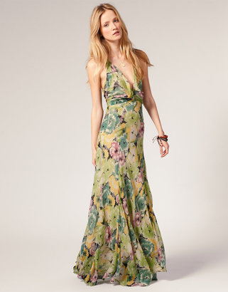 Winter Kate Harlequin Halter Maxi Dress In Floral Silk Chiffon