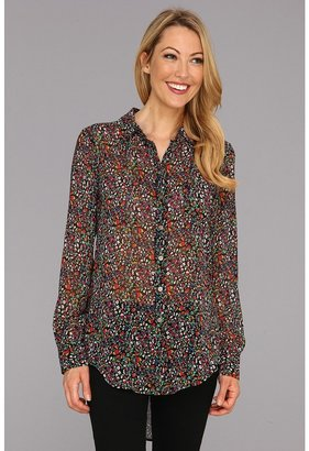 Vince Camuto TWO by Floral Tunic Boy Shirt (Rich Black) - Apparel