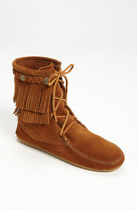 Women's Minnetonka 'Tramper' Double Fringe Moccasin Boot $66.95 thestylecure.com