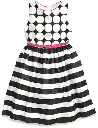 Bonnie Jean Little Girls' Spots-to-Stripes Dress