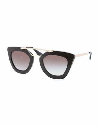 Prada Cat-Eye Double-Bridge Sunglasses, Black $385 thestylecure.com