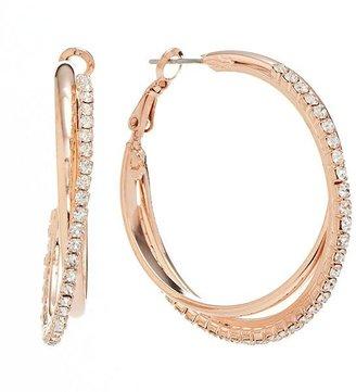 JLO by Jennifer Lopez simulated crystal interlocking hoop earrings